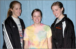 Triplets Jannel (left), Kristin and Brittney Scheuerman are three of the five starters on the Worland (Wyo.) Lady Warriors basketball team.