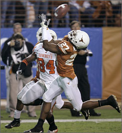 Texas safety Michael Griffin, shown intercepting a pass against Oklahoma State last season, is one of three potential first-day picks from the Longhorns defensive backfield.