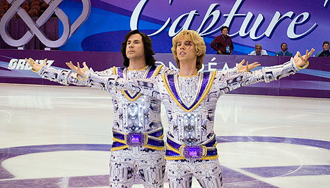 Will Ferrell, left, and Jon Heder hear it from the crowd during Blades of Glory. Many in the skating community believe the comedy will help publicize the sport positively.