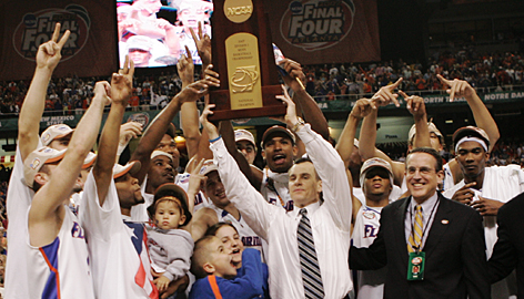 Billy Donovan and the Florida Gators celebrate their second straight national title after defeating Ohio State 84-75 in Atlanta.