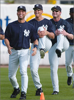 Yankees infielders Derek Jeter, left, Alex Rodriguez, center, and Jason Giambi have a good time during a spring training workout in Florida last month.