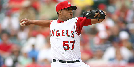 Angels pitcher Francisco Rodriguez works to the Texas Rangers on Wednesday. The righthander earned a save in the game.