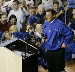 Billy Gillispie speaks to fans during a pep rally announcing his hiring at the University of Kentucky.