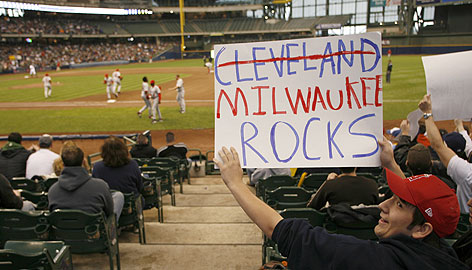Wisconsin teenager Shawn Bosman tells everyone that his city has no problem playing host to the Cleveland Indians, who beat the Los Angeles Angels 7-6 in a game moved from Ohio to Miller Park because of snow.