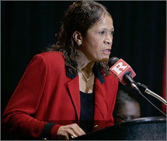 Rutgers coach Vivian Stringer addresses the media during a Tuesday news conference.