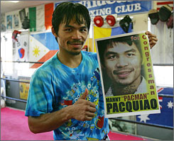 WBC super featherweight champion Manny Pacquiao is trying to defend his belt while running a campaign for Congress in the Philippines.