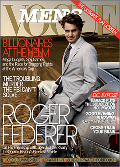 The cover of the May/June issue of Men's Vogue featuring Roger Federer.