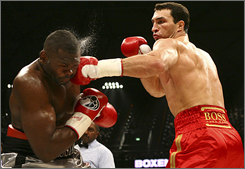 Wladimir Klitschko, right, battling Ray Austin in March, says he has wanted redemption since losing to Lamon Brewster in 2004.