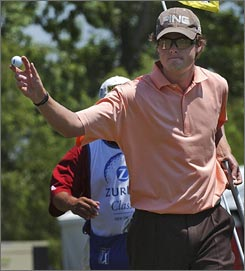 Kyle Reifers acknowledges the crowd after his putt on the 16th hole during his course-record 8-under 64 at the Zurich Open in TPC Louisiana, which was good for a two-shot edge over Mark Calcavecchia.