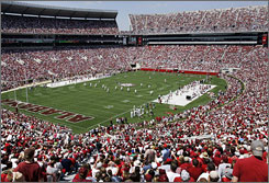 Alabama fans packed Bryant-Denny Stadium to watch Nick Saban's first spring game at Tuscaloosa.
