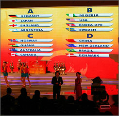 The results of the final draw for the 2007 FIFA Women's World Cup are displayed on a huge screen Sunday. The event will take place at several cities in China from September 10-30.
