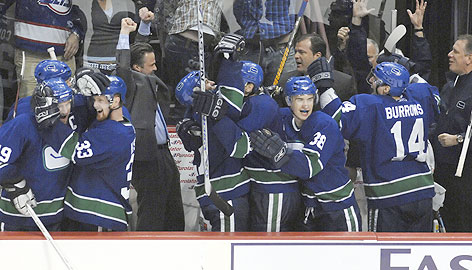 The Vancouver Canucks let loose on the bench after clinching Game 7 of their opening-round series against Dallas. The 4-1 victory earned Vancouver a date with Anaheim in the second round.