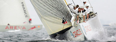 BMW Oracle (right) of the United States leads France's Areva Challenge during the challenger selection series of the Louis Vuitton Cup off the coast of Valencia, Spain, on Wednesday.