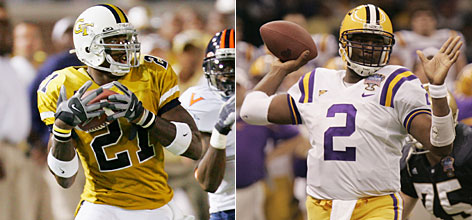 Georgia Tech receiver Calvin Johnson, left, may be the best players available in Saturday's NFL draft, but many analysts say LSU quarterback JaMarcus Russell is a better fit for a Raiders team that has floundered at the quarterback position in recent years and already has a formidable receiving corps.