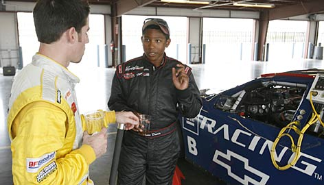 Marc Davis, right, talks shop with Woody Howard during a break in practice at Nashville Superspeedway last fall during a General Motors driver evaluation program. Davis has enjoyed success at Hickory (N.C.) Motor Speedway in Limited Late Model cars from Joe Gibbs Racing.