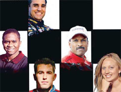 NASCAR's minority and female drivers have included, clockwise, from top, Juan Pablo Montoya, Bill Lester, Jessica Helberg, Aric Almirola and Morty Buckles.