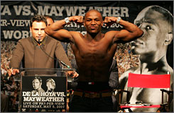 While in Washington, D.C., Mayweather tried to upstage De La Hoya as he was speaking. The two fighters will share the stage on Saturday when they meet for the WBC super welterweight title. The fight could go down as on of the highest-grossing of all-time.