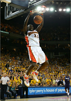 Golden State's Jason Richardson dunks in two of his 15 points during Game 6.