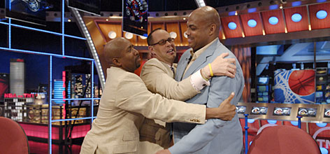 "Kenny Smith, Ernie Johnson and Charles Barkey, left to right, form what may be TV's funniest sports studio crew on TNT's 'Inside the NBA.' Says senior producer Tim Kiely says of his announcers, ""They are very, very intelligent, despite what you might think sometimes. They enjoy the needle even when they get the needle."""