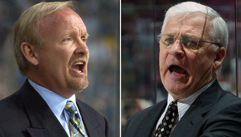 Ottawa's Bryan Murray, left, and Buffalo's Lindy Ruff waged a war of words and finger-pointing during a game in February. But that was the regular season and this is the postseason.