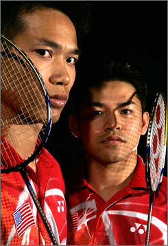 "U.S. badminton stars Khan ""Bob"" Malaythong, left, and Howard Bach hope to become the first American  tandem to ever medal in badminton at the summer games."