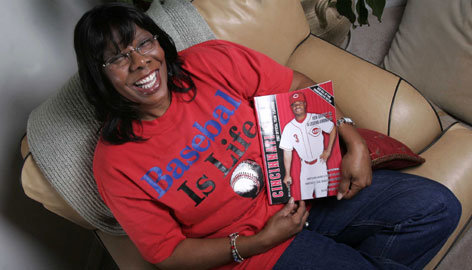 """Birdie Griffey smiles as she discusses her son Ken Griffey Jr. at her home in Windermere, Fla. """"She always puts family ahead of herself,"""" Griffey Jr. says."""