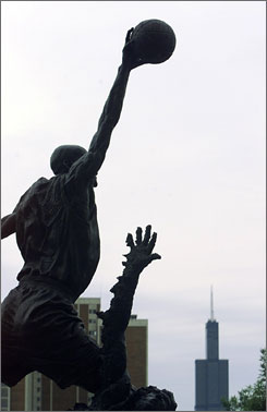 The Michael Jordan statue sits outside of United Center in Chicago.