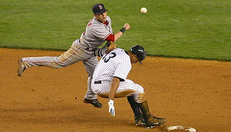 """This play had Boston second baseman Dustin Pedroia wondering about the baserunning of New York's Alex Rodriguez as A-Rod broke up an eighth-inning double play. """"He went in late and threw an elbow, but it's no big deal,"""" the Sox infielder said."""
