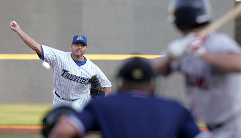 Roger Clemens pitches in the first inning for the Trenton Thunder during his second minor league start. After the game, Clemens said a side session on Friday would determine if he starts for the Yankees next week or if he makes another minor league appearance.