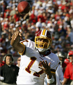 """Joe Gibbs won Super Bowls with three quarterbacks,"" says former Redskins QB Doug Williams,  who won Super Bowl XXII with Washington, of current Redskins starter Jason Campbell, above. ""He's been around enough quarterbacks to know what he wants in one. When Joe decides this is the guy, there isn't any doubt."""