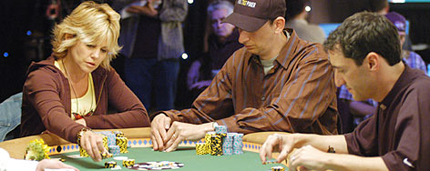 Cyndy Violette, left, competes in a tournament in Las Vegas in 2005. Violette, who will be one of the top players in this year's World Series, is living proof that poker is no longer a man's game.