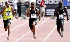 Tyson Gay of the U.S.runs to a win in the men's 100m dash final in 9.79. Gay has enjoyed tremendous success in 2007 despite his coach, Lance Brauman, being imprisoned.