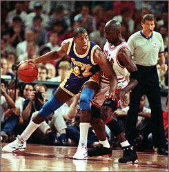 "Former Bulls superstar Michael Jordan (23) defends Lakers playmaker Magic Johnson in Game 2 of the 1991 NBA Finals at Chicago Stadium. ""Michael was like a member of the Beatles; if he was John Lennon, he had George Harrison, Paul McCartney with him,"" says Lakers radio analyst Mychal Thompson, a backup pivotman on that '91 Lakers squad. ""LeBron is Michael Jackson, and he has Tito, Marlon, Jermaine and Jackie."""