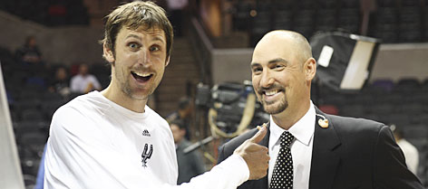 Spurs swingman Brent Barry, left, conducts a mock interview big-brother analyst Jon. Much joking between the two revolves around Brent's 2005 NBA championship ring and Jon's lack of one.