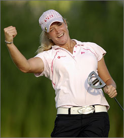 Suzann Pettersen shot a 5-under 67 and held off late charges by Karrie Web and Na On Min to win the LPGA Championship by one stroke.