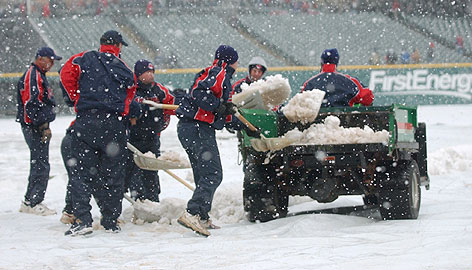 Remember when the Indians grounds crew removed snow for the home opener at Jacob Field in April? The wintry weather forced postponement of four games between Cleveland and Seattle, one of which was made up on Monday.