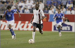 U.S. midfielder DaMarcus Beasley, who finished with two goals, is ahead of the pack during Tuesday's 4-0 victory over El Salvador in the CONCACAF Gold Cup in Foxborough, Mass.