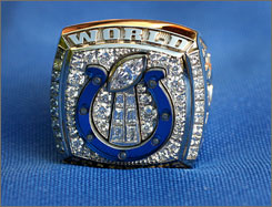 The ring delivered to Colts players and officials on Wednesday to commemorate the team's win on Super Bowl XLI.