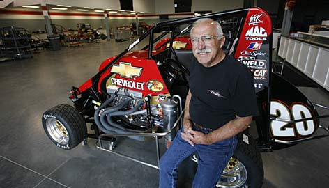 Nelson Stewart shows off his son's gleaming new sprint car shop, just 10 miles from Indianapolis Motor Speedway. Note the floor: Nelson coated it with a special marble finish.