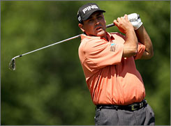Angel Cabrera grabbed a one-shot lead after his steady round of 71 on Friday.