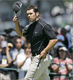 Paul Casey went from out of contention to near the top of the leaderboard after his round of 66.