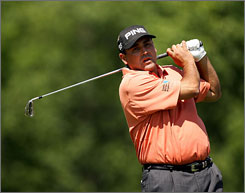 Argentinean Angel Cabrera led the U.S. Open after 36 holes with an even-par 140.