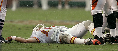 Former Chiefs QB Trent Green lies motionless after a tackle by Cincinnati's Robert Geathers on Sept. 10, 2006. He was carted off the field with a concussion that kept him out for eight weeks.