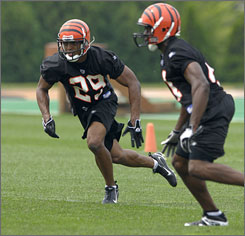 Cornerback Leon Hall, left, the Bengals' first-round draft pick, could be a starter in his rookie season.