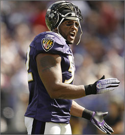 Ray Lewis has won two NFL Defensive Player of the Year awards in his 11-year career.