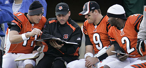 Bengals QB Carson Palmer (9) confers with backups Doug Johnson, left, and Anthony Wright during a game in 2006. Cincinnati must regroup from an 8-8 season that saw it regress from AFC North champion to out of the playoffs.