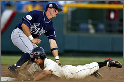 Oregon State's Darwin Barney steals second base against UC Irvine second baseman Cody Cipriano, in the third inning of today's 7-1 victory for OSU.