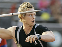 Breaux Greer set a U.S. javelin mark of 299 feet, 6 inches Thursday evening at the U.S. Outdoor Track and Field Championships.
