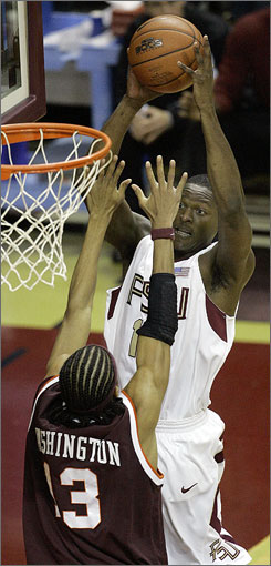 Al Thornton, shown rising for two points over Virginia Tech's Deron Washington on Jan. 17 in Tallahassee, Fla., averaged 19.7 points and 7.2 boards in his senior season at Florida State.