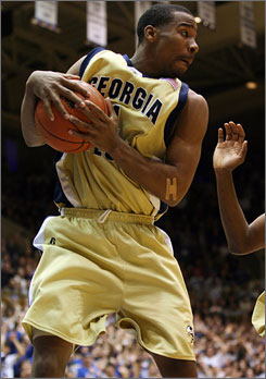 Georgia Tech point guard Javaris Crittenton, shown grabbing a carom in Duke's Cameron Indoor Stadium on Feb. 18, has an above-average first step but still needs to work on his outside shot.